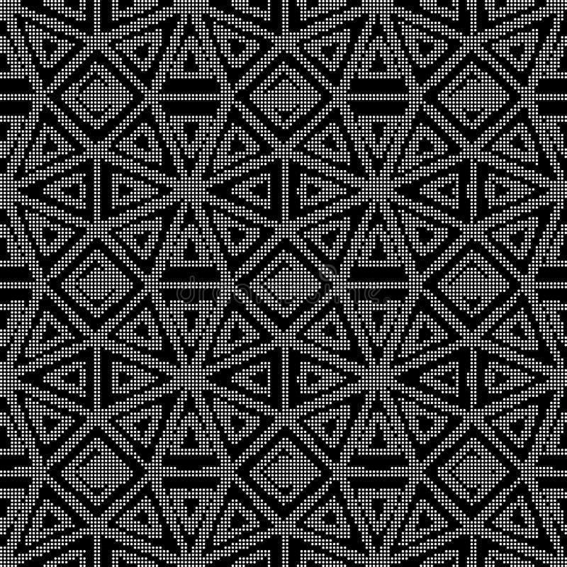 Runde schwarze nahtlose Hintergrundachteck-Dreieckhalbtonkontrolle vektor abbildung