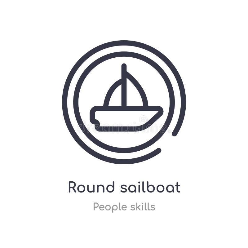 runde Segelbootentwurfsikone r rundes Segelboot des editable Haarstrichs stock abbildung