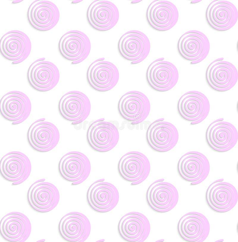 Runde Spiralen des Rosas des farbigen Papiers des Weiß stock abbildung