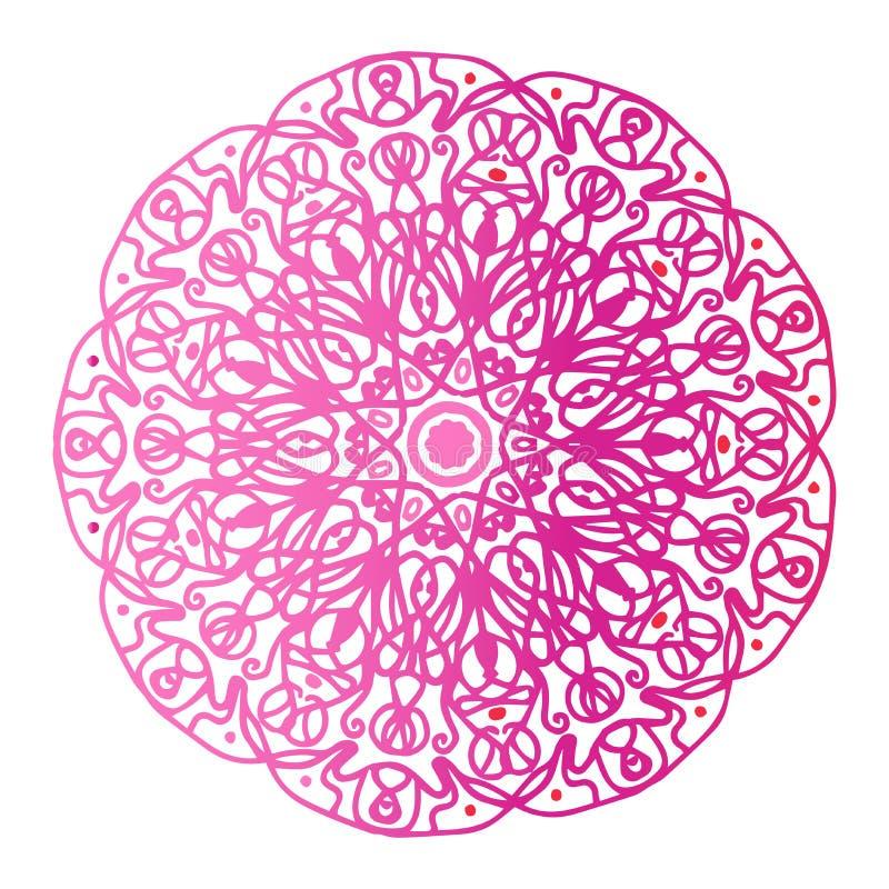 Runde Steigungsmandala auf Weiß lokalisiertem Hintergrund Vektor boho Mandala in den roten und rosa Farben Mandala mit Blumen vektor abbildung