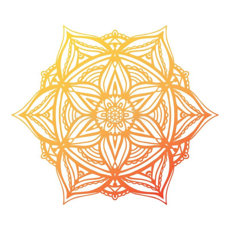 Runde Steigungsmandala auf Weiß lokalisiertem Hintergrund Vektor boho Mandala mit Blumenmustern Lokalisiert auf Weiß stock abbildung