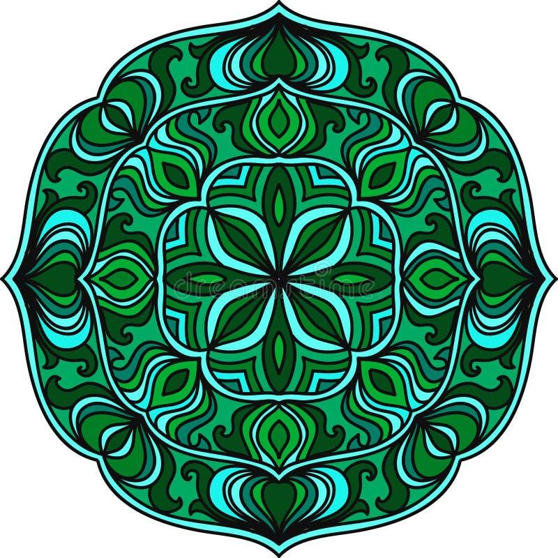 Runde Verzierung Buntes Muster der Mandala im Kreis Dekoratives Motiv Element für Entwurf lizenzfreie abbildung