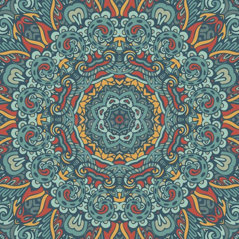 Runde Verzierung der Blumen-Mandala Orientalisches Muster mit dekorativen mit Blumenelementen und Paisley der Fantasie lizenzfreie abbildung