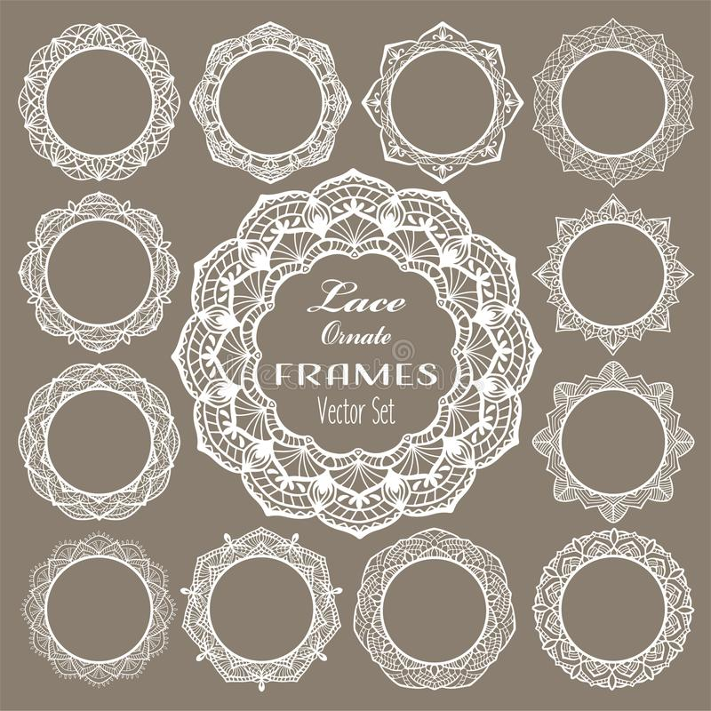 Runde Weinlesespitzerahmen, weiße Servietten für elegante Hochzeitseinladungskarte, Text oder Foto Laser-Schnittmenge, runde Mand stock abbildung