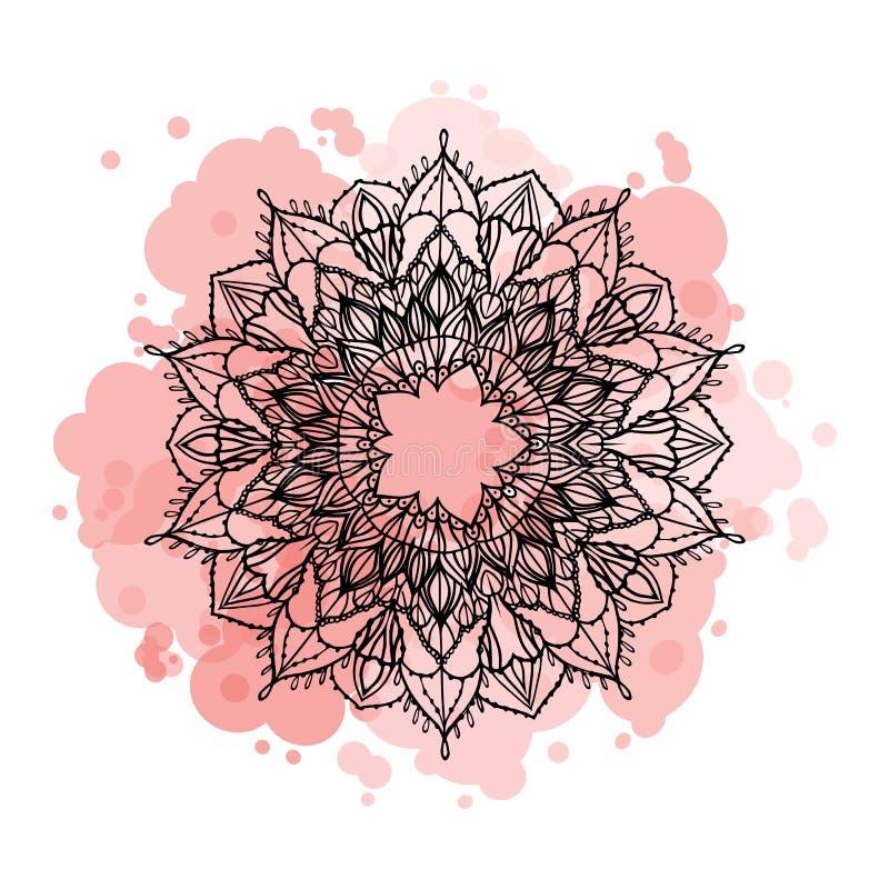 Runde Zeichnung der Mandala des Vektors schwarze Handauf der strukturierten Hintergrundkarte der rosa Stelle lokalisiert auf Weiß vektor abbildung
