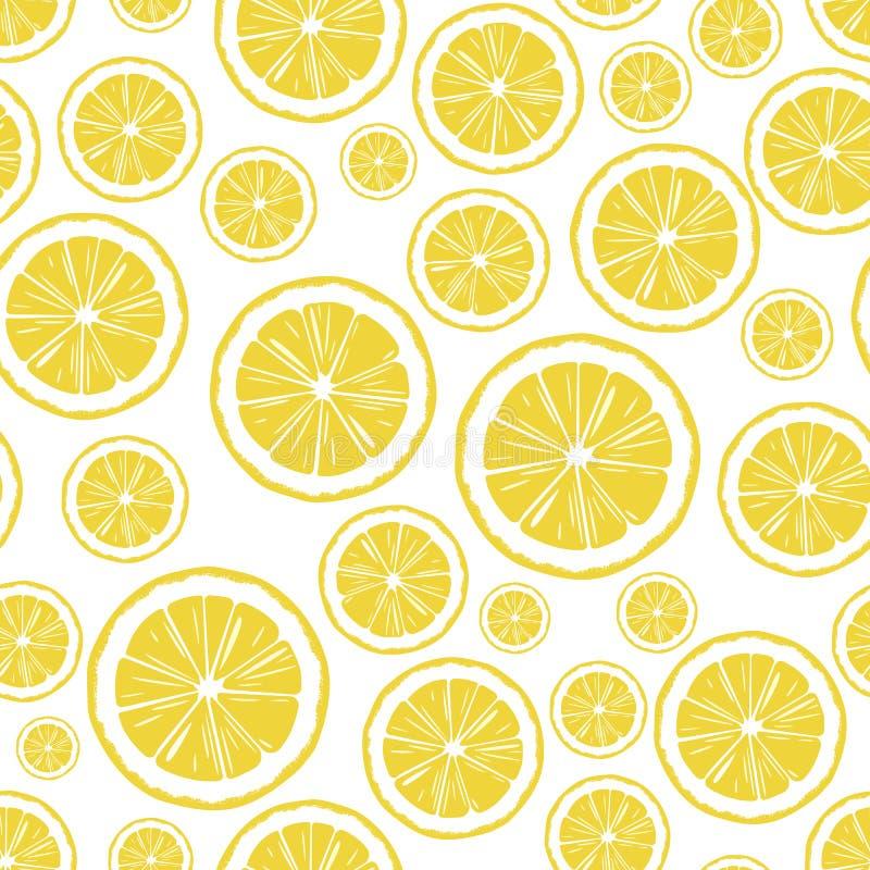 Runde Zitronenscheiben, von Hand gezeichneter nahtloser Vektorhintergrund stockfotografie
