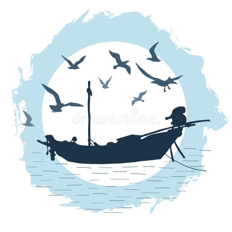 Runde Zusammensetzung mit dem Schattenbild eines Fischerbootes und der Fliegenvögel gegen den Hintergrund eines großen Mondes stockfoto