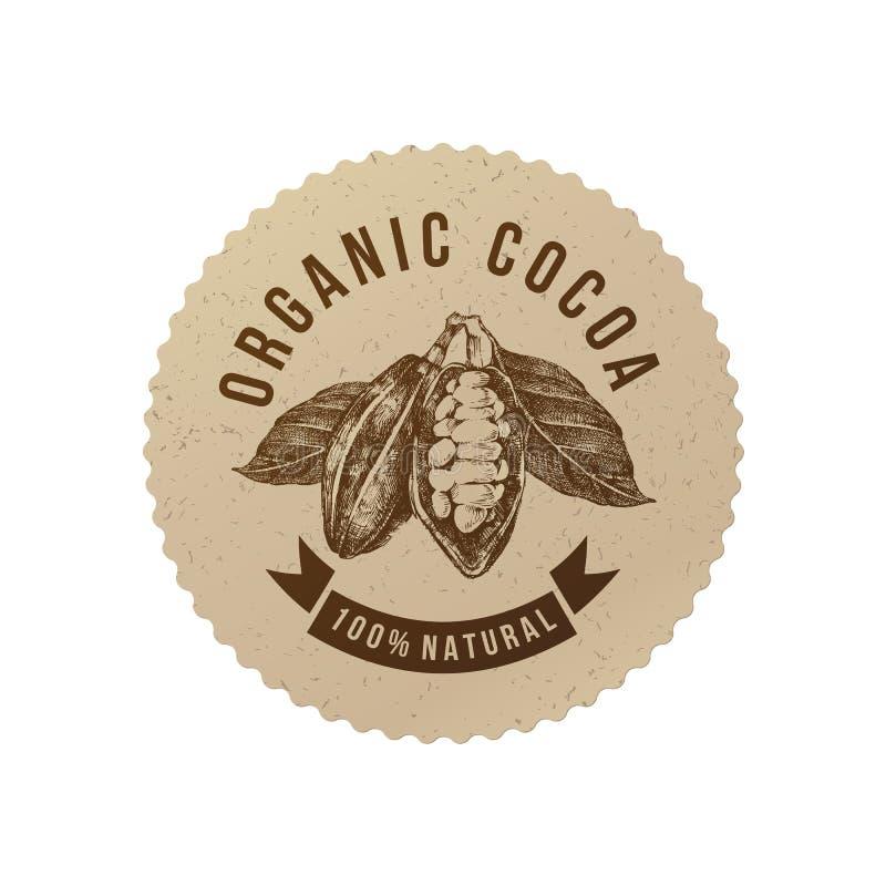 Runder Aufkleber des organischen Kakaos in der Weinleseart stock abbildung