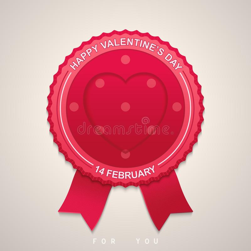 Runder Aufkleber für Valentinstag stock abbildung