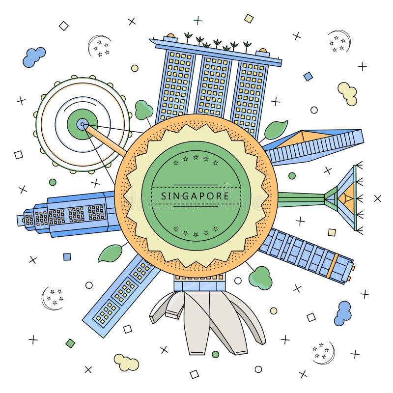 Runder Ausweis mit singapurischen Gebäuden lizenzfreies stockfoto