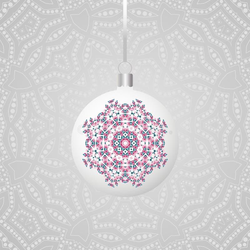 Runder Bereich Weihnachtsball, der am Band hängt Sammlung Flitter mit Verzierungen Neues Jahr-Dekoration stock abbildung