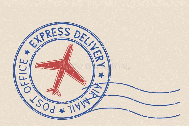 Runder blauer Poststempel mit rotem Flugzeugsymbol auf beige Hintergrund vektor abbildung