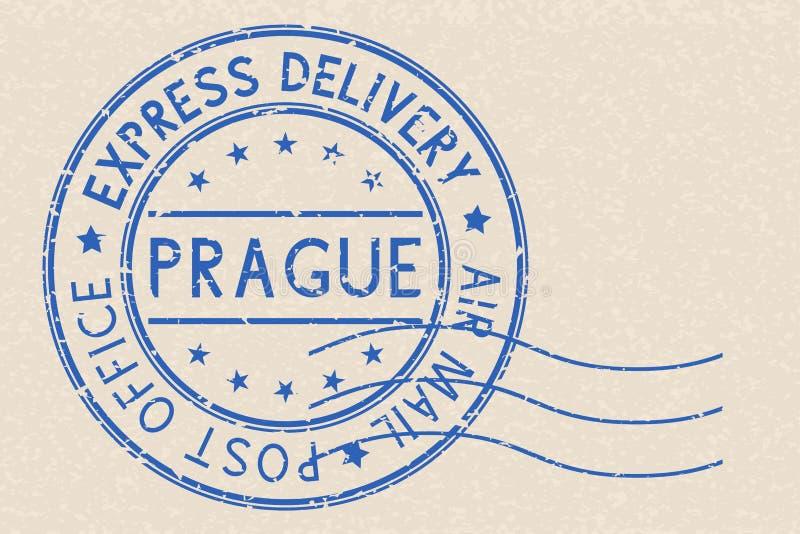 Runder blauer Poststempel Prag, Tschechische Republik auf beige Hintergrund vektor abbildung
