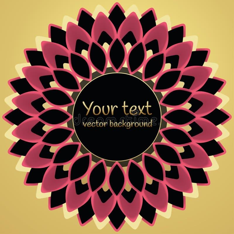 Runder Blumenrahmen für Text, Logos, Aufkleber, Aufkleber, Postkartendesign, Fahne Abstrakter rosa schwarzer Blumenkranz mit lizenzfreie abbildung