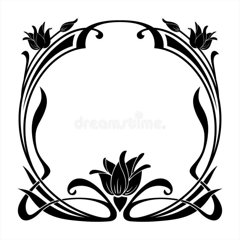 Runder dekorativer Blumenrahmen in der Jugendstilart vektor abbildung