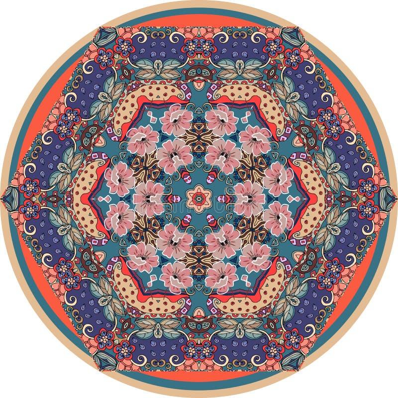 Runder dekorativer Teppich mit Mohnblumenblumen auf ethnischem dekorativem Hintergrund Schöne Vektorillustration Dekorative Platt vektor abbildung