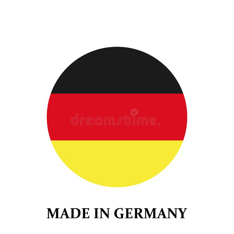 Runder Deutschland-Flaggenausweis im Kreis Gemacht in Deutschland-Flagge im Kreisvektor eps10 lizenzfreie abbildung