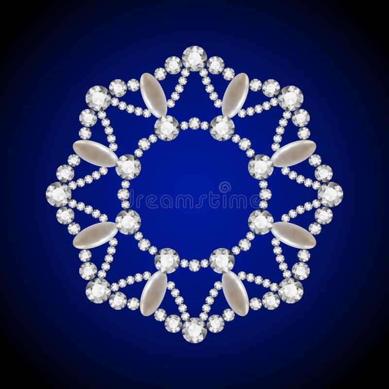 Runder Diamantanhänger, Schmuckkreisrahmen stock abbildung