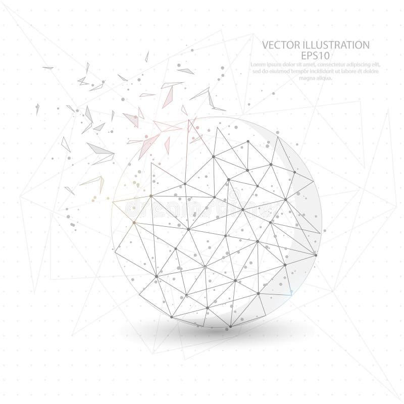Runder dreieckdrahtrahmen des Balls digital gezeichneter niedriger Poly stock abbildung