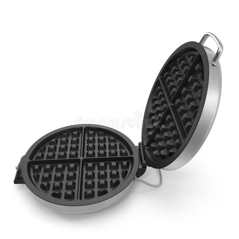 Runder elektrischer Waffel-Hersteller lokalisiert auf weißem Hintergrund Abbildung 3D stock abbildung