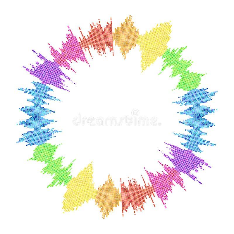 Runder Entzerrer, Schallwelle lokalisiert auf weißem Hintergrund vektor abbildung