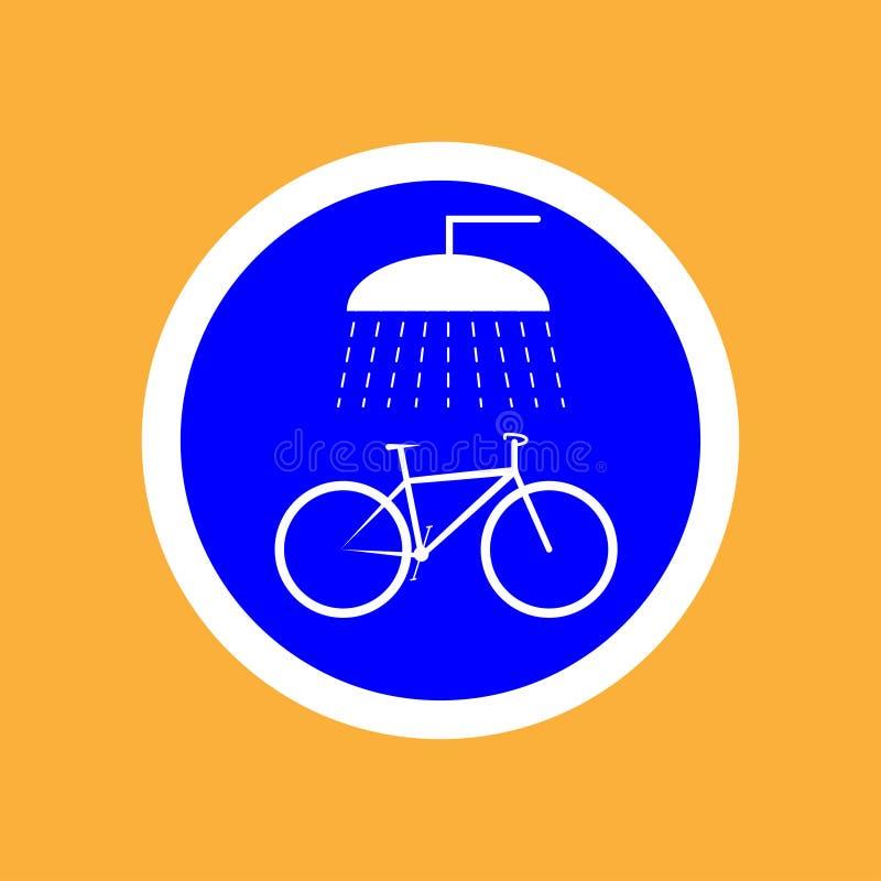 Runder Fahrradikonenpunkt für das Waschen des Fahrrades, schwarze dünne Linie auf weißem Hintergrund - Vektorillustration lizenzfreie abbildung