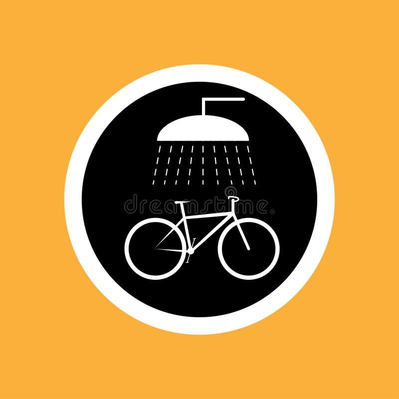 Runder Fahrradikonenpunkt für das Waschen des Fahrrades, weiße dünne Linie auf schwarzem Hintergrund - Vektorillustration stock abbildung