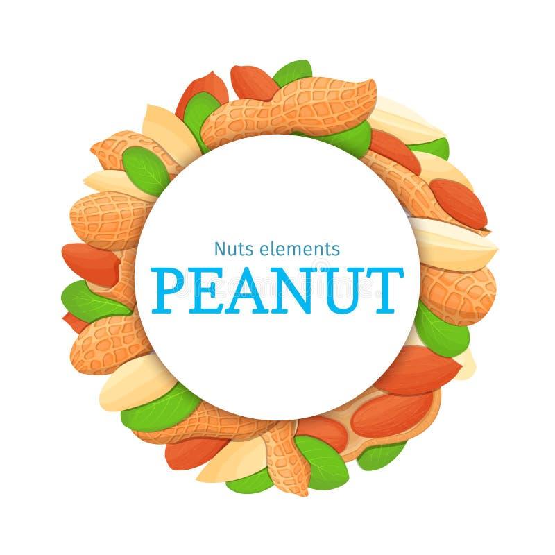 Runder farbiger Rahmen bestanden aus Erdnussnuß Vektorkartenillustration Kreisen Sie Nüsse, Erdnussfrucht im Oberteil ein, ganz stock abbildung