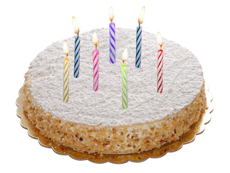 Runder ganzer Kuchen mit den brennenden Kerzen lokalisiert stockfotos