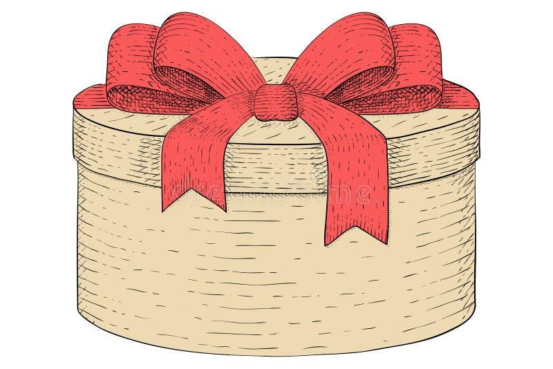Runder Geschenkkasten Hand gezeichnete farbige Skizze vektor abbildung