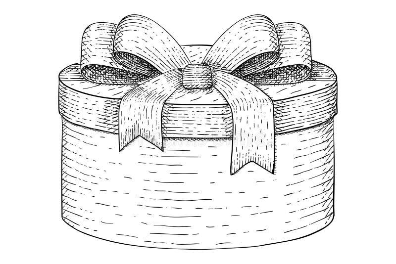 Runder Geschenkkasten Hand gezeichnete Skizze lizenzfreie abbildung