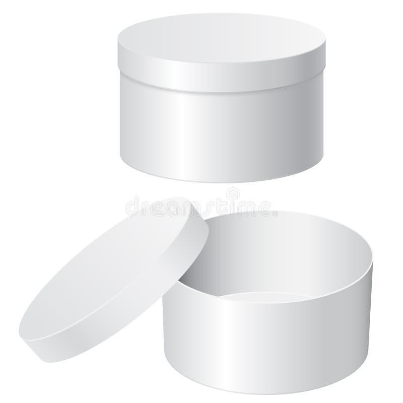 Runder Geschenkkasten Weißer freier Raum offen und geschlossene Behälter vektor abbildung