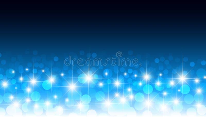 Runder glühender Konfettis blauer bokeh Vektorhintergrund Die kreisförmige optische verwischte Linse beleuchtet festliches Muster stock abbildung