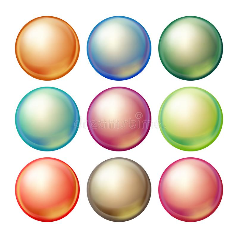 Runder Glasbereich-Vektor Gesetzte undurchsichtige mehrfarbige Bereiche mit grellem Glanz, Schatten Lokalisierte realistische Ill lizenzfreie abbildung