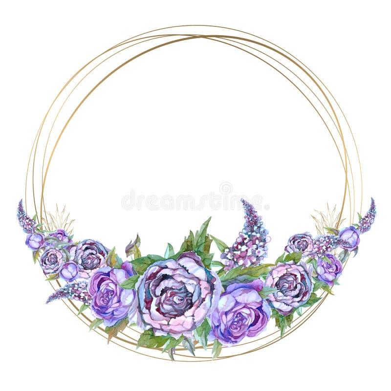 Runder Goldrahmen mit purpurroten Blumen des Aquarells Girlande von Pfingstrosen von Rosen und von Fliedern lizenzfreie abbildung