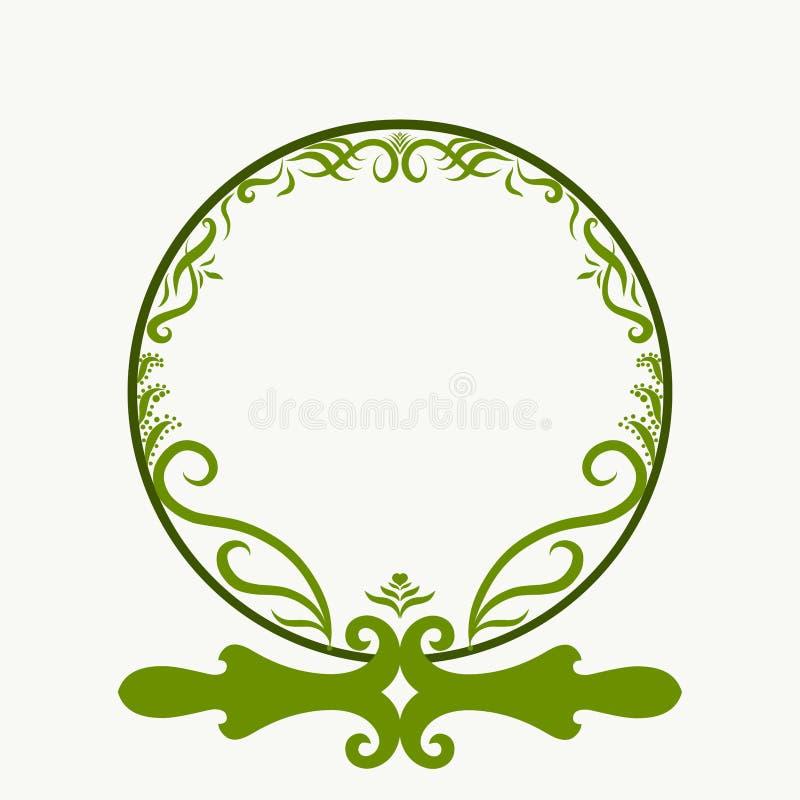Runder grüner Rahmen mit einem Muster von Blättern und von Locken stock abbildung