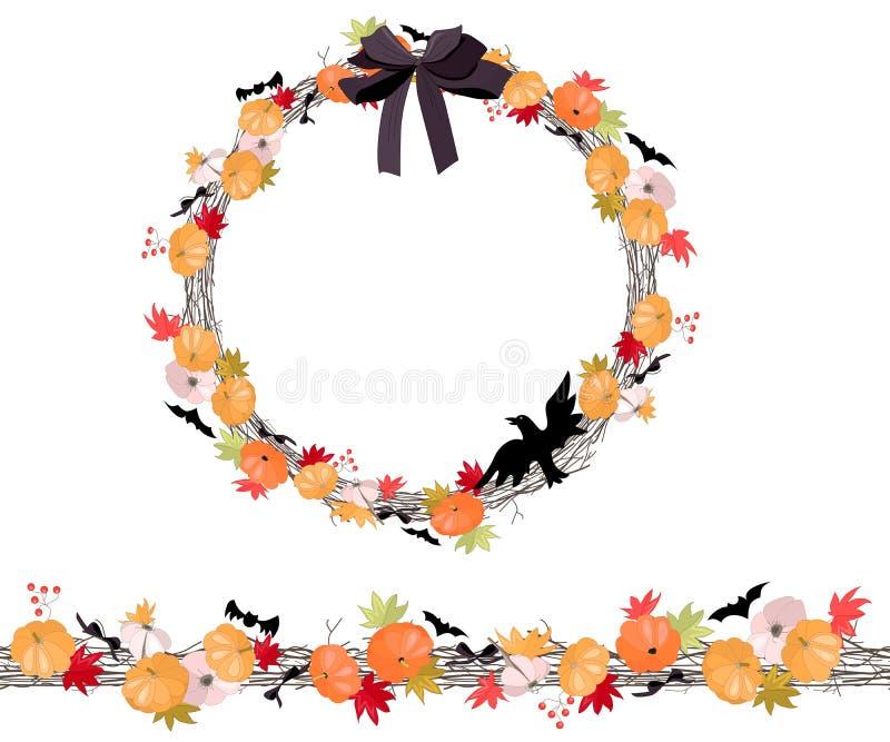 Runder Halloween-Kranz mit den pumkins lokalisiert auf Weiß Endlose horizontale Musterbürste vektor abbildung