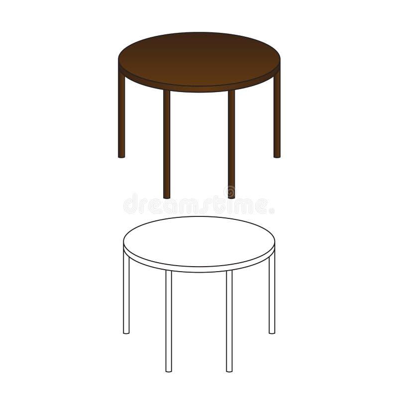 Runder Holztisch und Entwurf lokalisiert auf weißem Hintergrund Auch im corel abgehobenen Betrag vektor abbildung