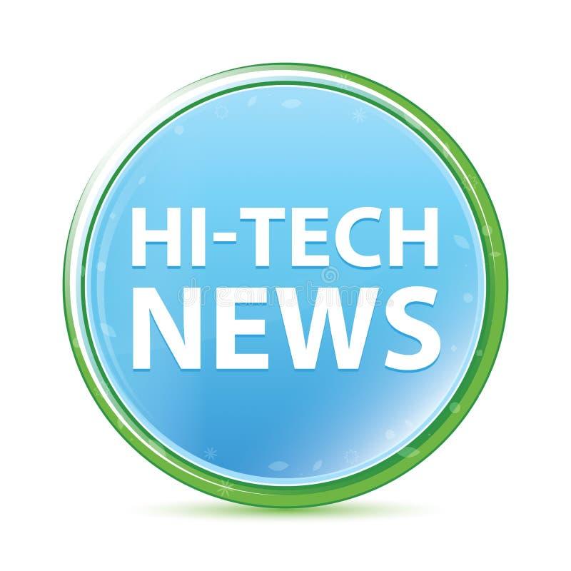 Runder Knopf des High-Techen natürlichen Aqua-Cyanblaus der Nachrichten lizenzfreie abbildung