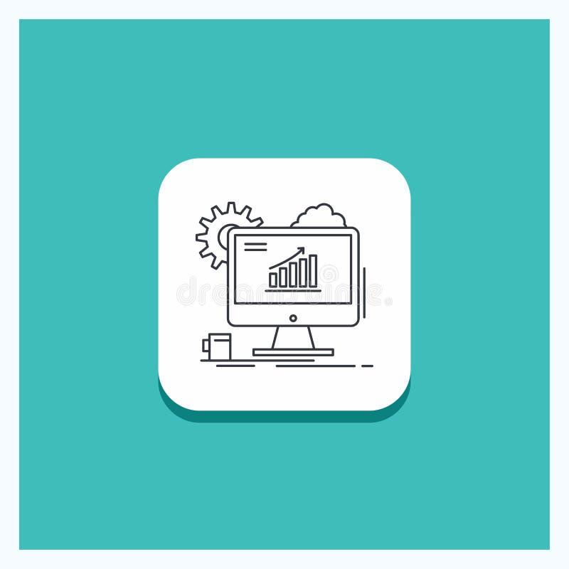 Runder Knopf für Analytics, Diagramm, seo, Netz, Linie Ikone Türkis-Hintergrund einstellend stock abbildung