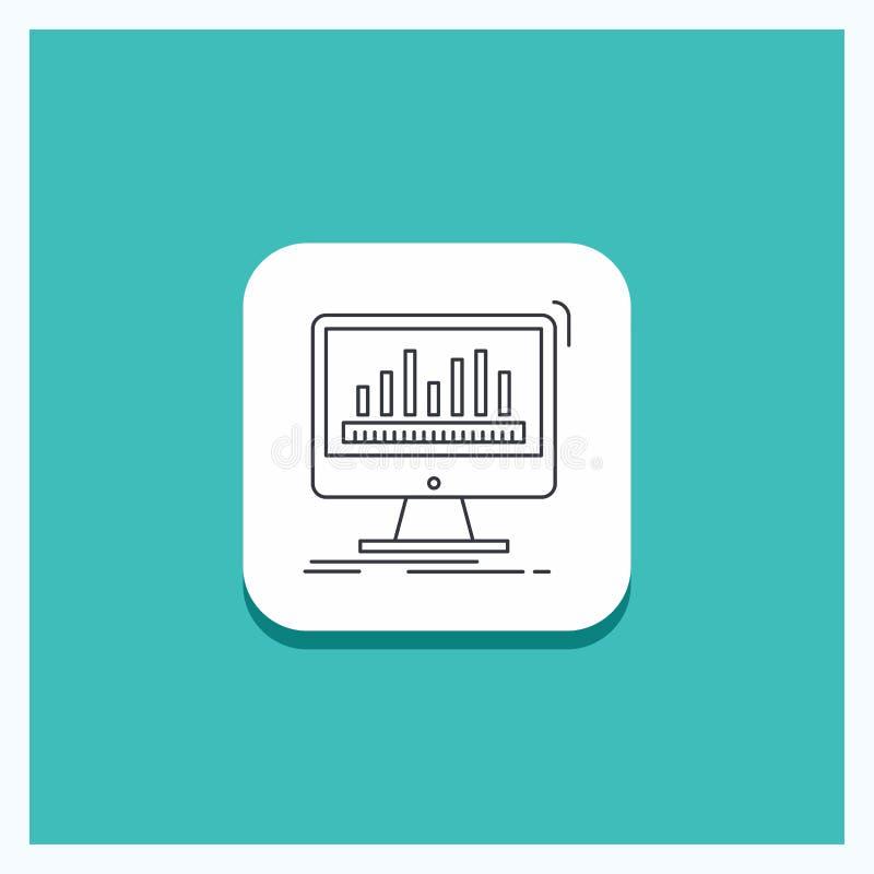 Runder Knopf für Analytics, verarbeitend, Armaturenbrett, Daten, Notfall-Linie Ikone Türkis-Hintergrund lizenzfreie abbildung