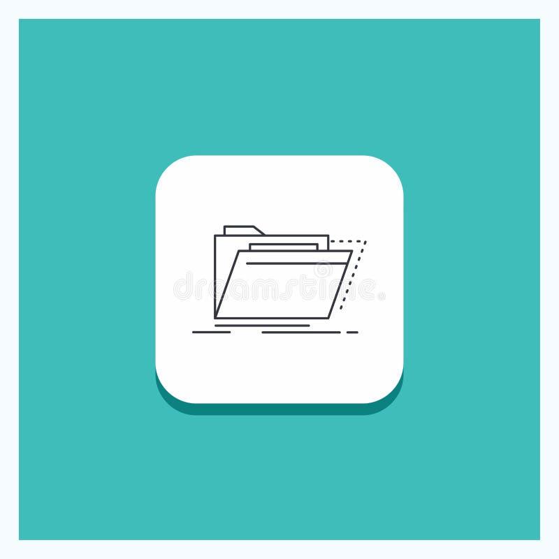 Runder Knopf für Archiv, Katalog, Verzeichnis, Dateien, Ordner Linie Ikone Türkis-Hintergrund vektor abbildung