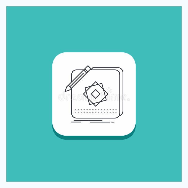 Runder Knopf für Entwurf, App, Logo, Anwendung, Entwurfs-Linie Ikone Türkis-Hintergrund vektor abbildung