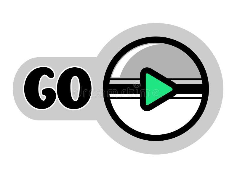 Runder Knopf für gehen, Spiel oder Ikone für Spielvideo zu spielen Graue, weiße und grüne Farbe vektor abbildung