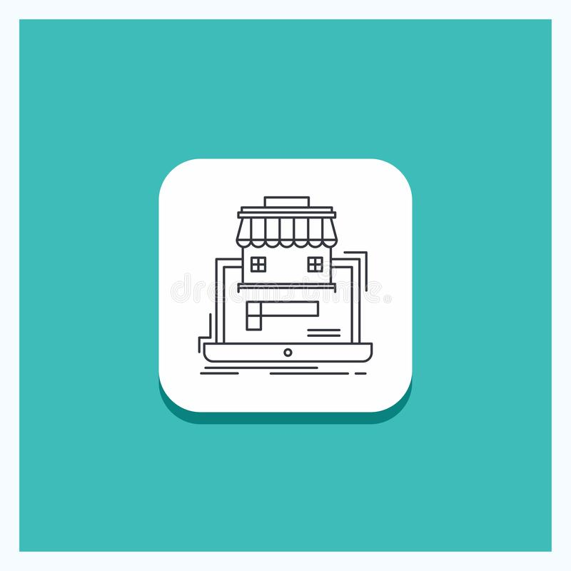 Runder Knopf für Geschäft, Markt, Organisation, Daten, on-line-Markt Linie Ikone Türkis-Hintergrund vektor abbildung