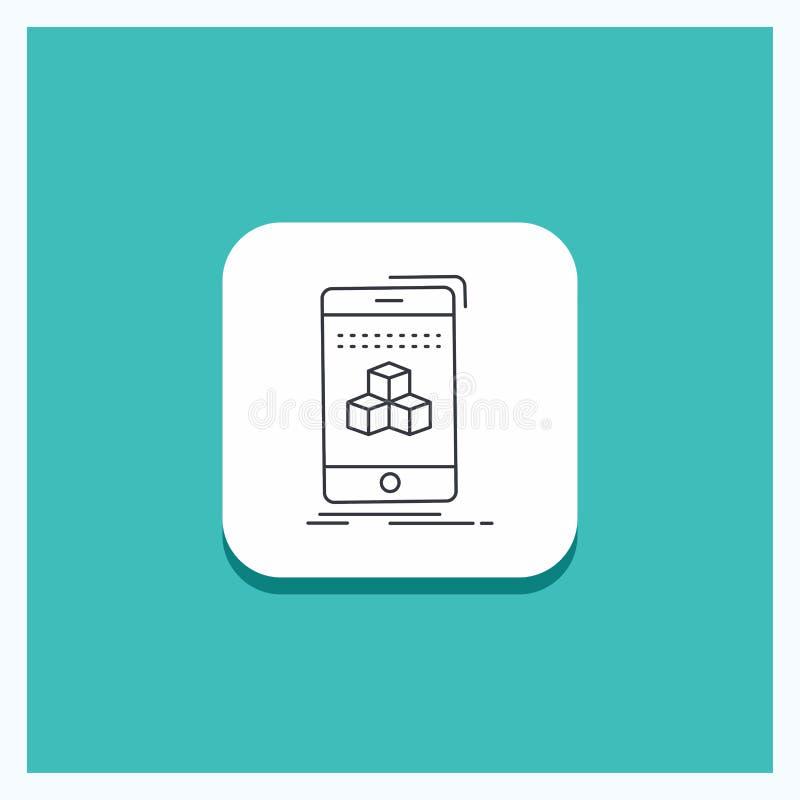 Runder Knopf für Kasten, 3d, Würfel, Smartphone, Produktserie Ikone Türkis-Hintergrund stock abbildung