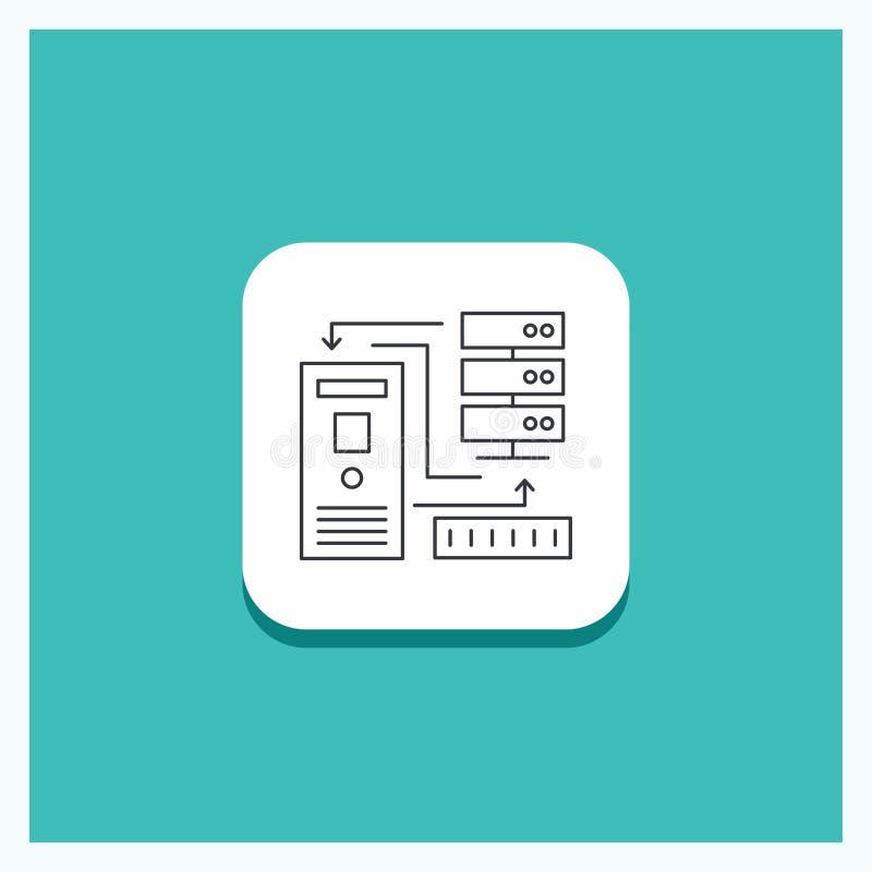 Runder Knopf für Kombination, Daten, Datenbank, elektronisch, Informationen Linie Ikone Türkis-Hintergrund stock abbildung