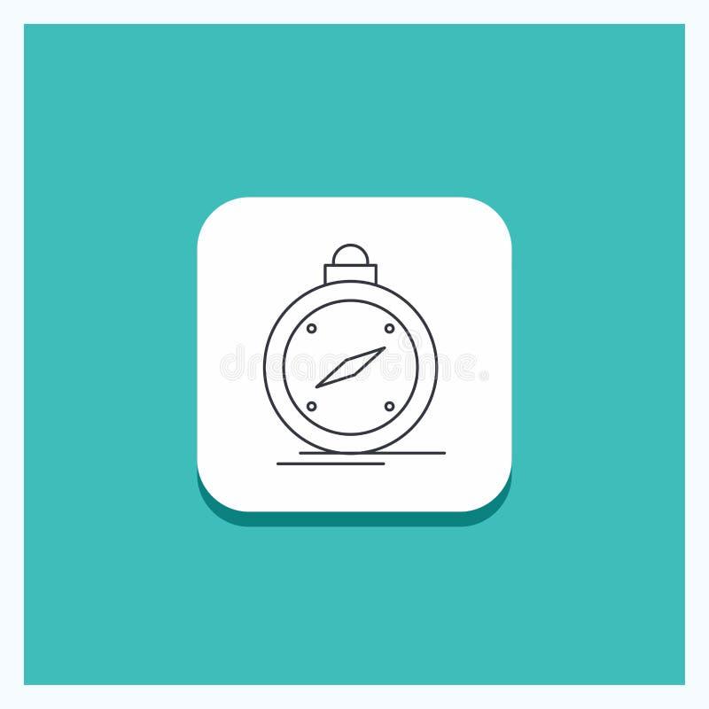 Runder Knopf für Kompass, Richtung, Navigation, gps, Standort Linie Ikone Türkis-Hintergrund vektor abbildung