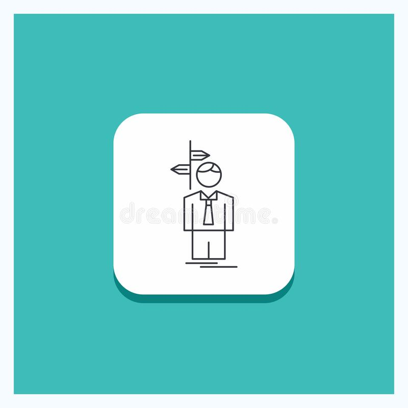 Runder Knopf für Pfeil, Wahl, wählen, Entscheidung, Richtung Linie Ikone Türkis-Hintergrund stock abbildung
