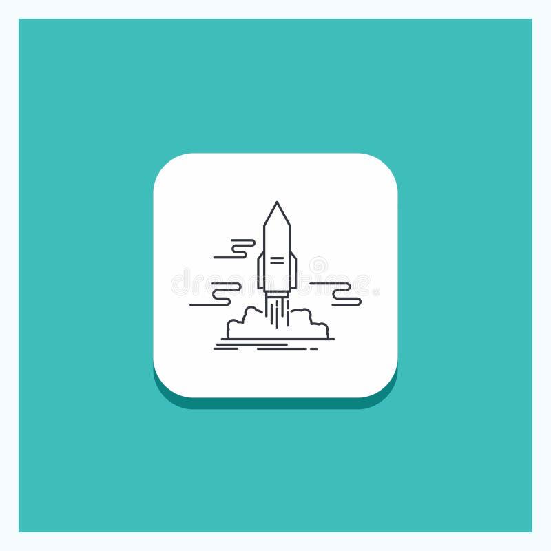 Runder Knopf für Produkteinführung, veröffentlichen, App, Shuttle, Raum Linie Ikone Türkis-Hintergrund vektor abbildung